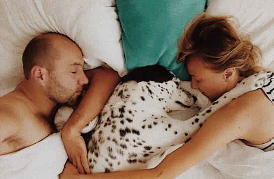 Mann Hund und Frau liegend kuschelnd im Bett