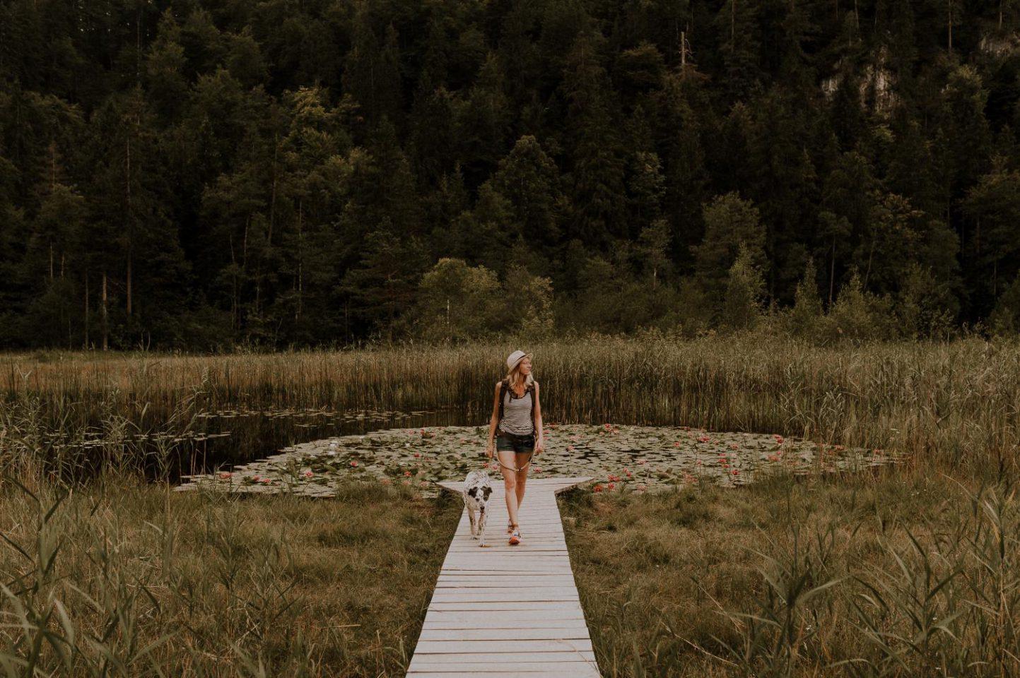 Eine Frau läuft mit ihrem Hund über den Steg